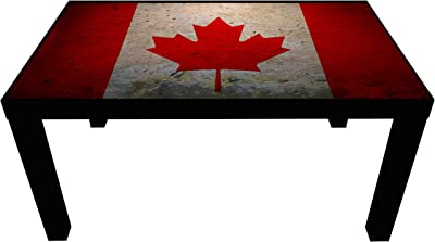 Probest Canada Flag Coffee Table, Flag Coffee Table, Coffee Table, Pine Wood Coffee Table, Interesting Coffee Table, Coffee & End Tables, Living Room Furniture Coffee Tables, Table,