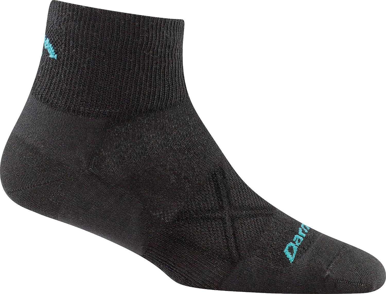 Womens White Large Darn Tough Coolmax Vertex Quarter Crew Ultralight Cushion Sock
