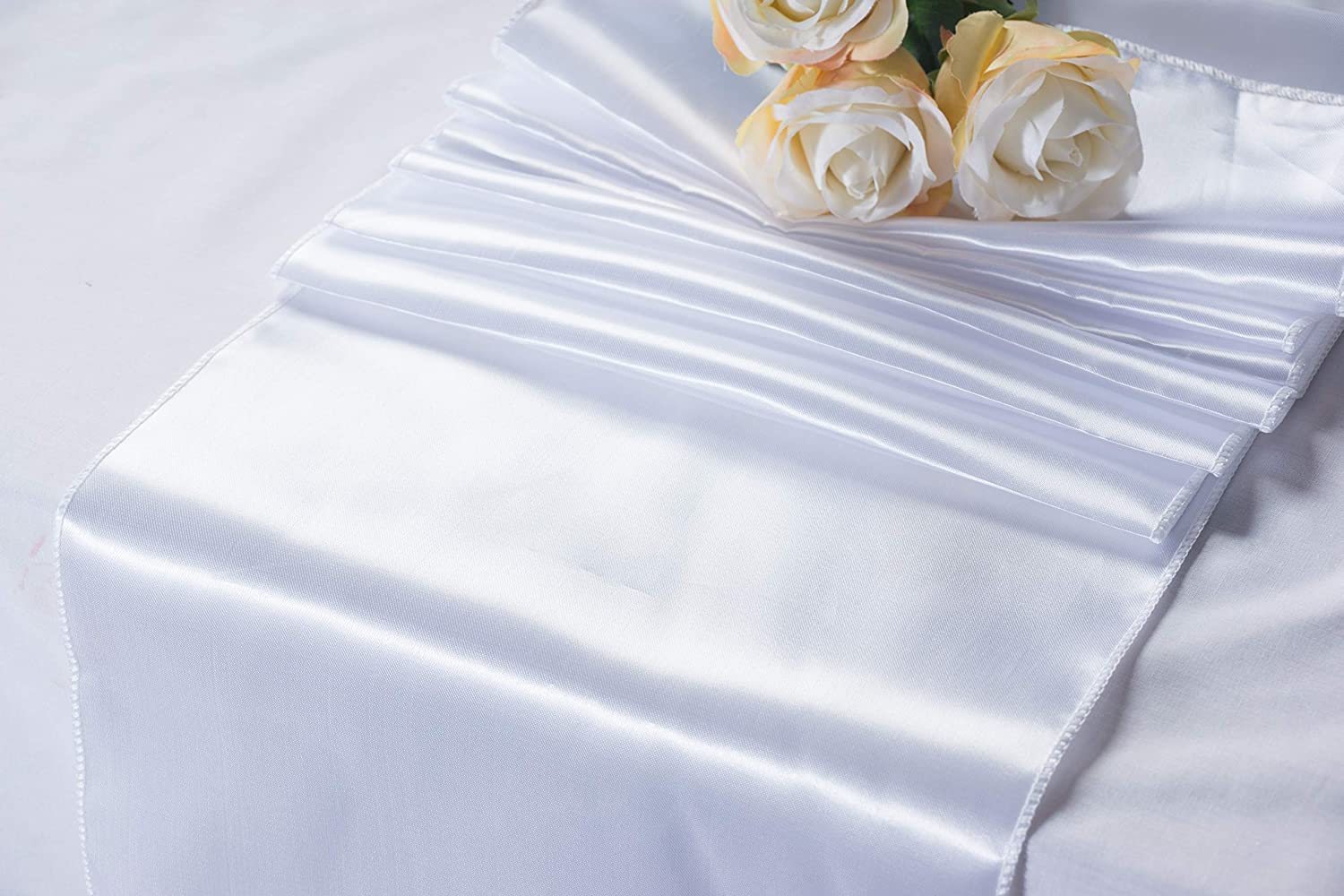 Juvale White Table Runner Tablecloth Runner Decoration Birthdays Special Occasions Baby Showers Catering 108.3 x 11.8 inches 10 Pack Wedding Table Runners Perfect for Weddings