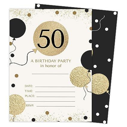 Amazon.com: Tarjetas de invitación para 50 cumpleaños con ...