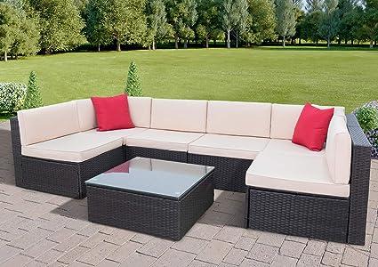 Superb Amazon Com Tuoze 7 Pieces Patio Furniture Sets Pe Wicker Home Interior And Landscaping Ponolsignezvosmurscom