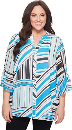 495f6d6d569 Calvin Klein Plus Women's Plus Size Button Front Print Flare Sleeve Blouse  Adriatic/Soft White