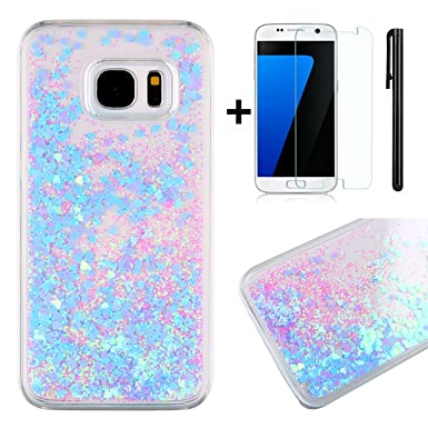 the latest be07d c22eb Samsung Galaxy S7 Edge Glitter Case,Samsung Galaxy S7 Edge Clear Case,TOYYM  3D Creative Funny Cute Liquid Flowing Floating Sparkle Bling Glitter Star  ...