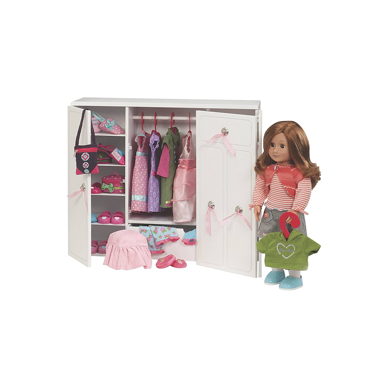 Amazoncom Our Generation Dolls Wooden Wardrobe Doll Toys - Barbie doll storage ideas