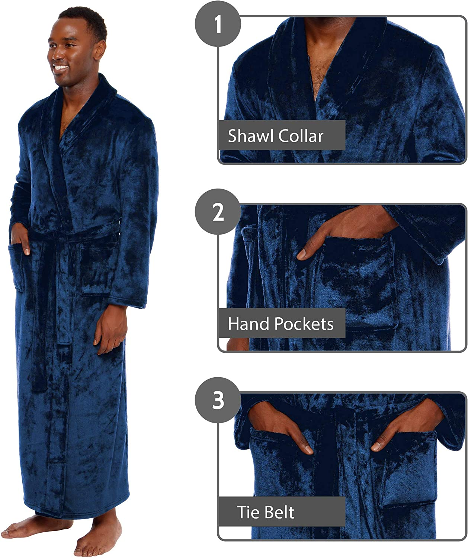 Ross Michaels Mens Big and Tall Full Length Long Bathrobe House Coat Pajamas