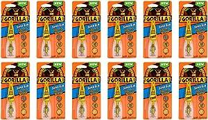 Gorilla Super Glue with Brush & Nozzle Applicator, 12 Gram, Clear, (Pack of 12)