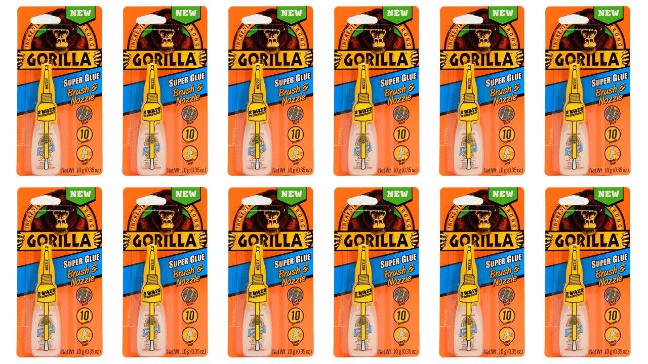 Gorilla Super Glue with Brush & Nozzle Applicator, 10 Gram, Clear, (12 Pack) by Gorilla