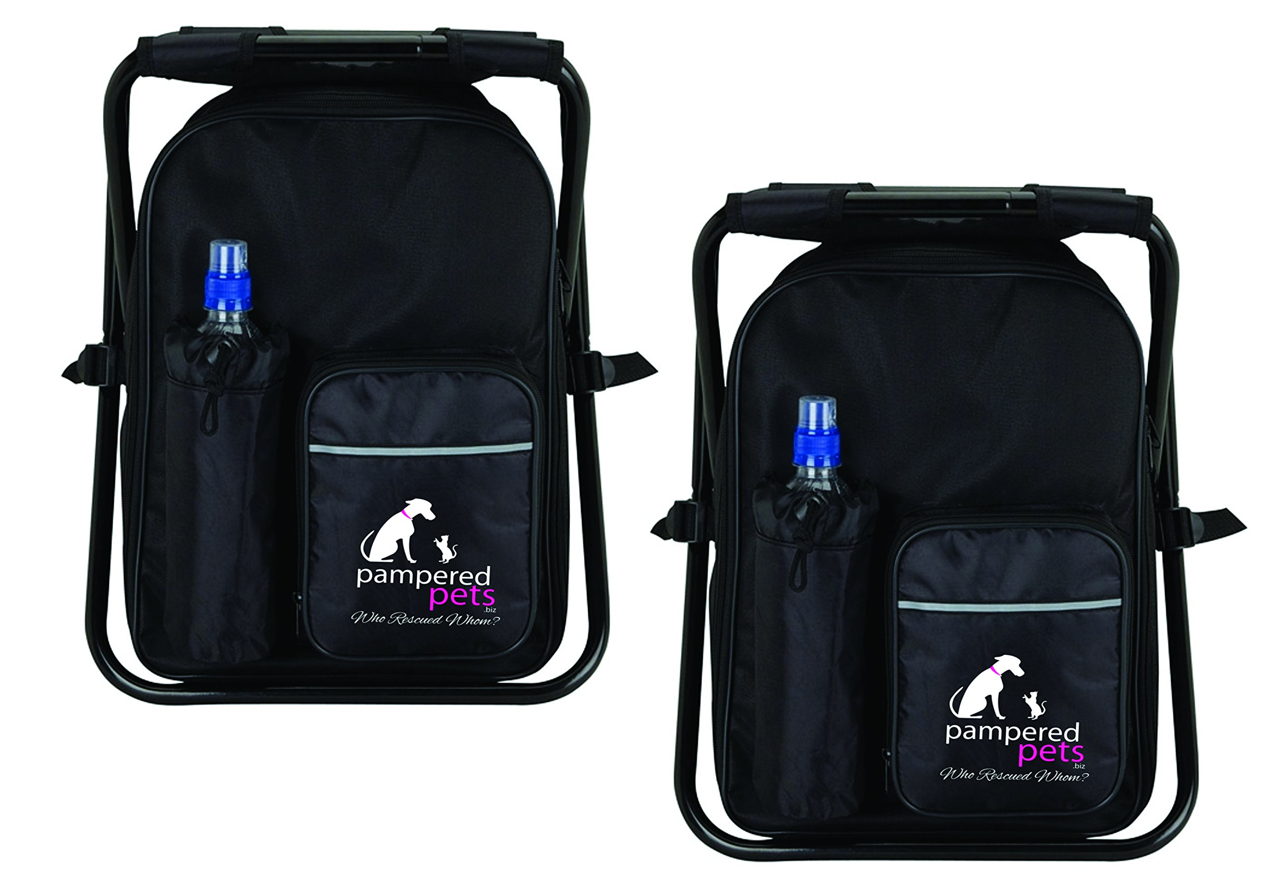 Pampered Pets ''Who Rescued Whom'' Cooler Bag Chair (2 Pack), Black