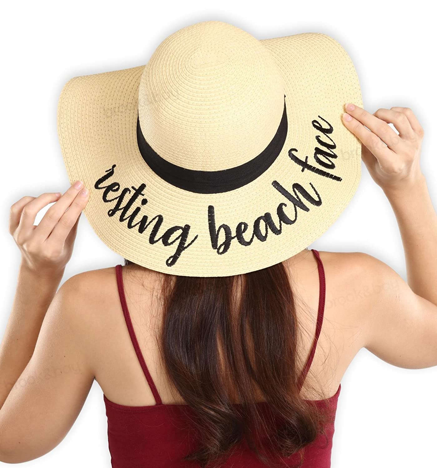 Women's Embroidered Floppy Beach Sun Hat - Wide Brim Summer Straw Hats - Ideal for Travel & Vacation - Foldable & Packable