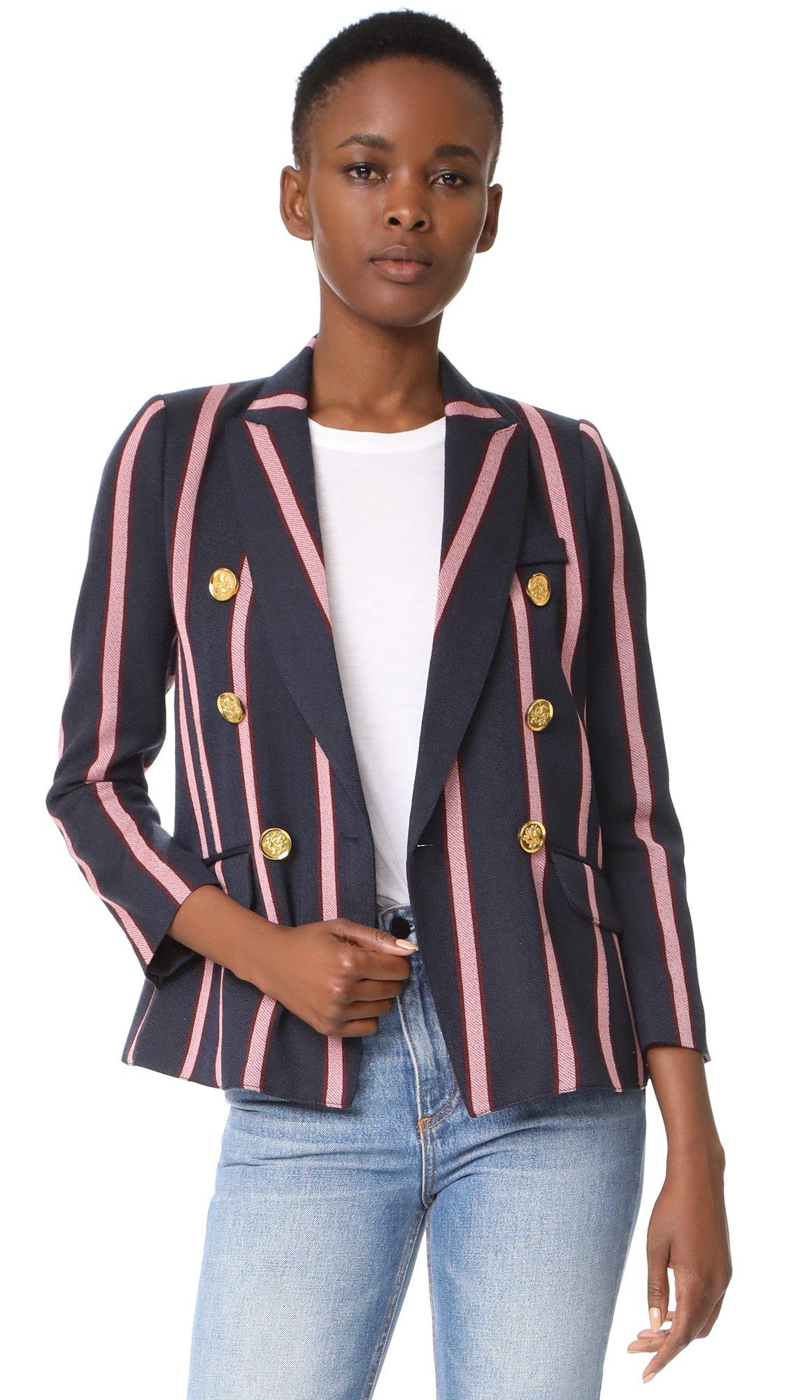 SMYTHE Women's Mini Double Breasted Blazer, Navy/Pink Oxford Stripe, 8