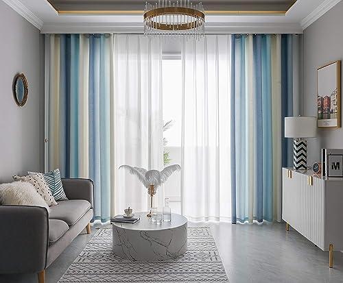 FY FIBER HOUSE Grommet Ombre Decorative Drapes Gradient Linen Look Blackout Window Treatment Curtain Sets 95 Inch Length