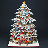 Shimmering Christmas Tree Village Pop Up Decorative Greeting Card / Christmas Card