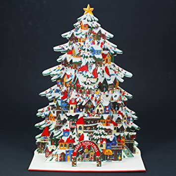 shimmering christmas tree village pop up decorative greeting card christmas card