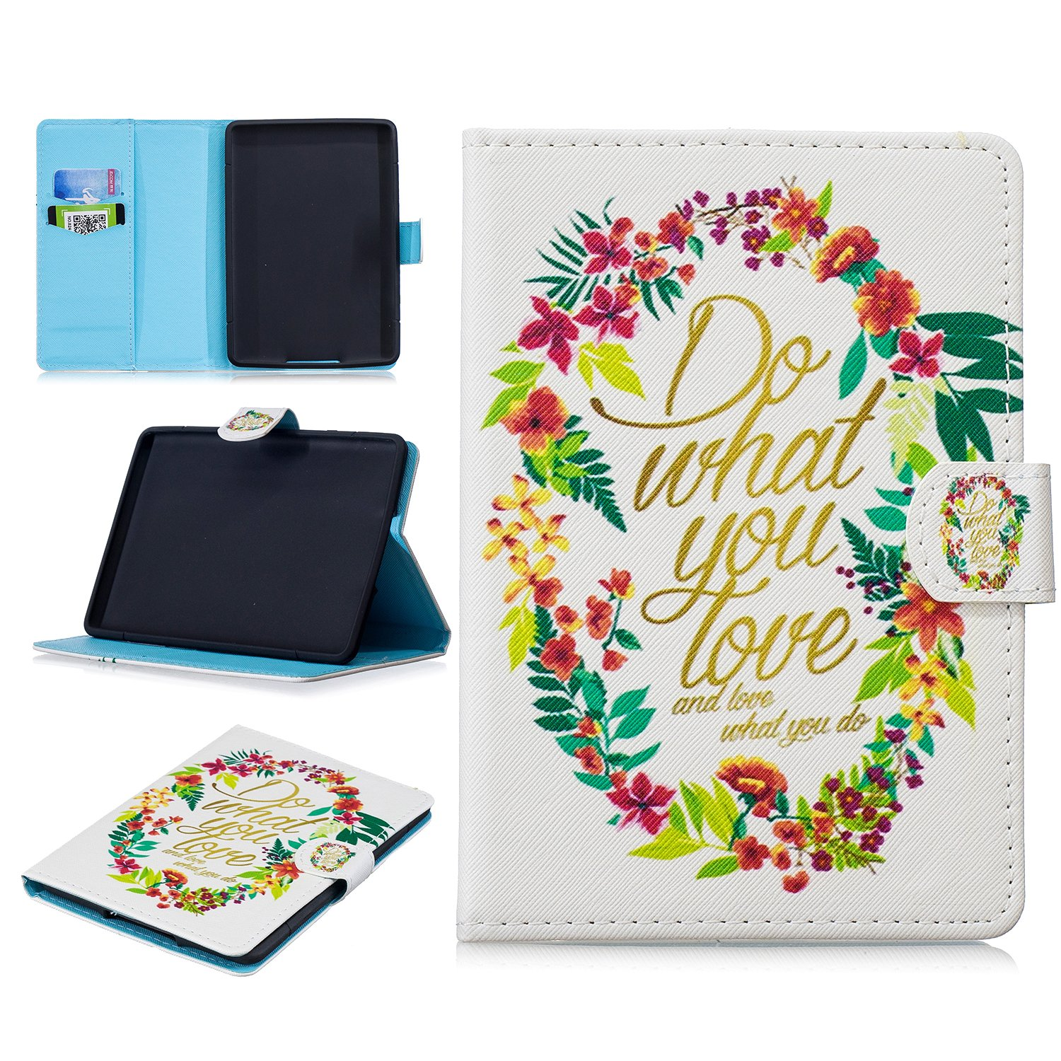 Leather Cover Flip Wallet Card Slot Smart Case with Cover Stand for All-New  Kindle Paperwhite Fits All Generations yuandaquan Covers Cases for  Kindle Paperwhite 1//2//3 6