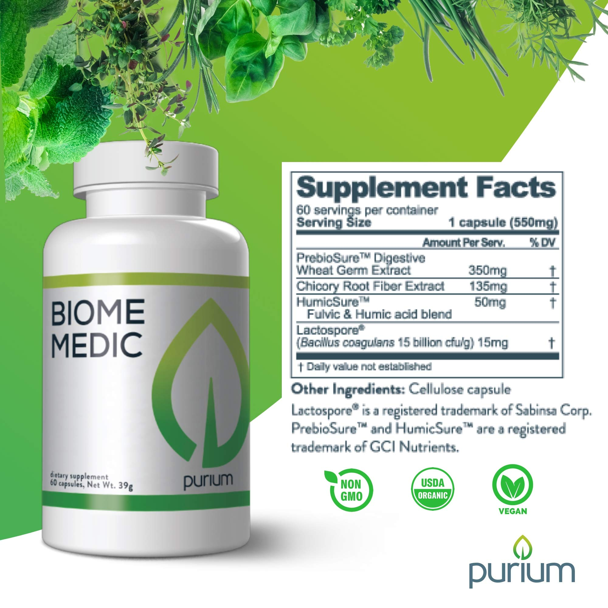 Purium Biome Medic - 60 Vegan Capsules - Gut Health Support Supplement, Removes GMO Toxins, Supports Good Bacteria, Repairs Microbiome - Vegetarian, Gluten Free - 60 Servings by Purium (Image #5)