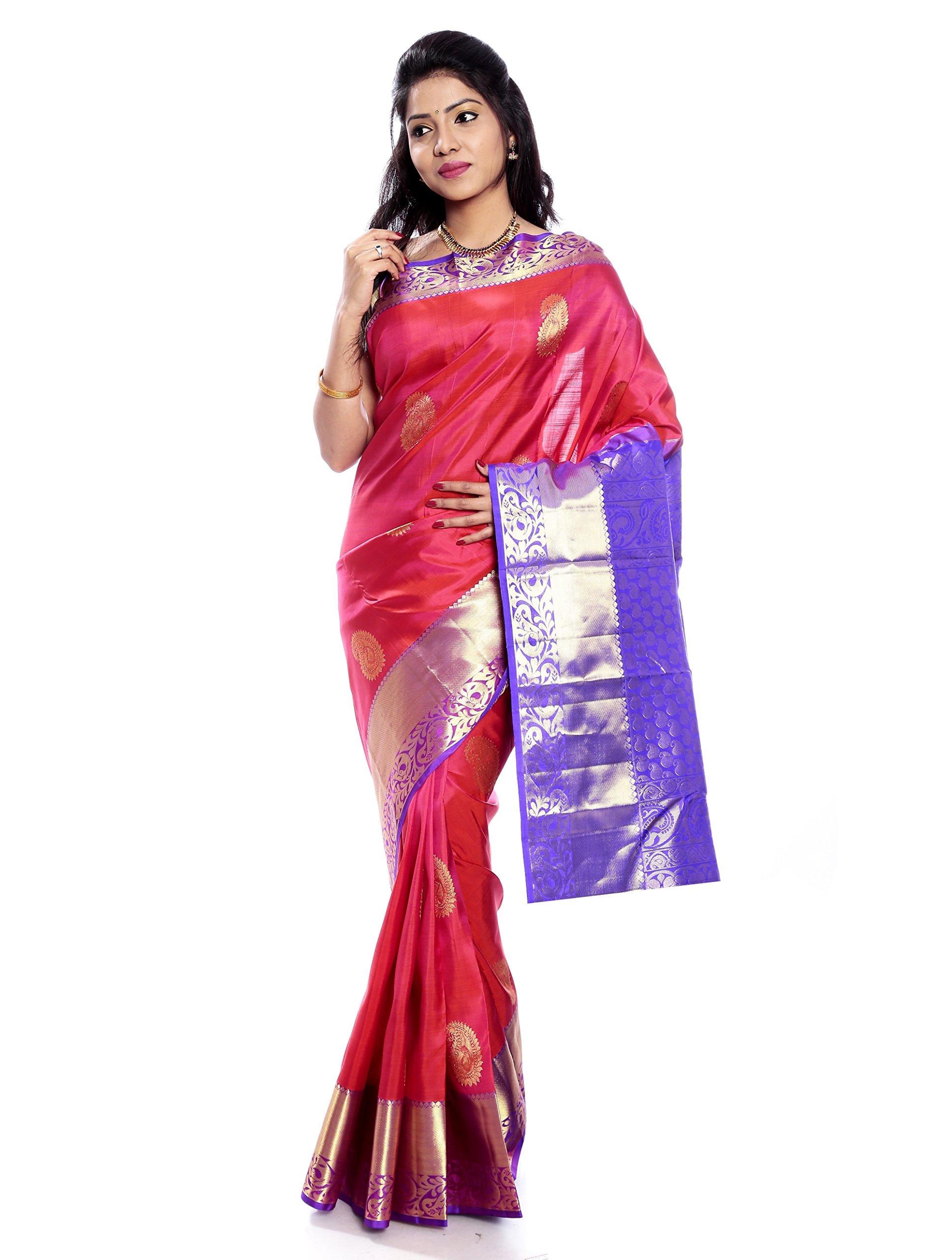 Mandakini — Indian Women's Kanchipuram - Handloom - Pure Silk Saree (Pink ) (MK229)