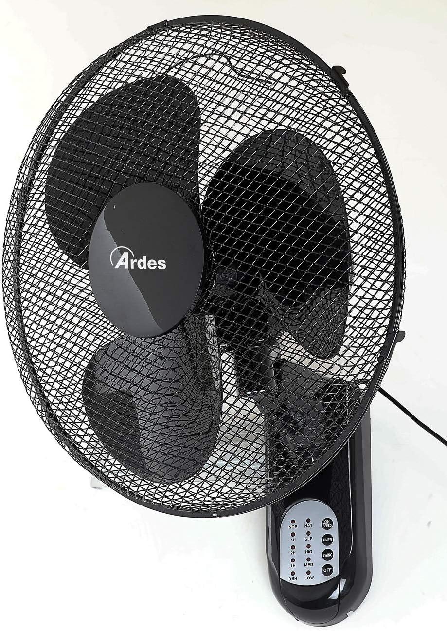 Ardes AR5W40R PARETO Cool RC Ventilador oscilante de Pared Pala 40 cm, con Mando a Distancia, 3 Niveles de Velocidad, Temporizador, Modo Noche