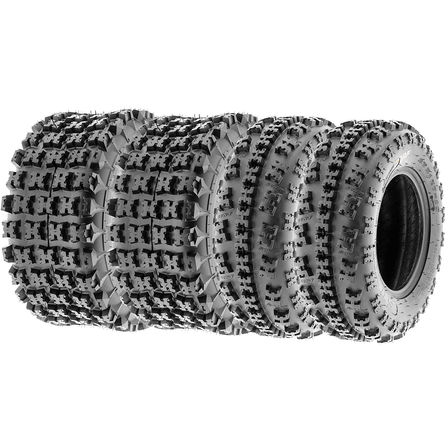 SunF All Terrain Race Replacement ATV UTV 6 Ply Tires 22x7-11 & 22x11-9 Tubeless A027, [Set of 4] LCF1|A027|220711|221109|x4