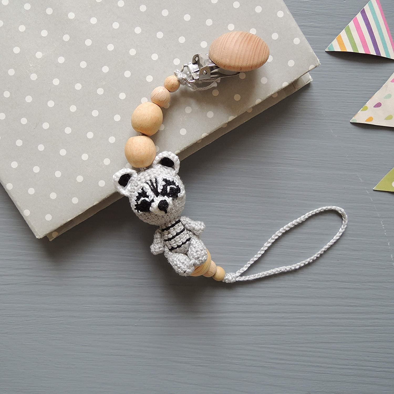 Amazoncom Pacifier Clip With Crochet Raccoon Baby Shower Gift For