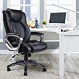 VANBOW Leather Memory Foam Office Chair - Adjustable Lumbar Support Knob and Tilt Angle High Back Executive Computer Desk Chair