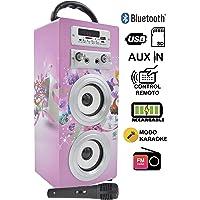 DYNASONIC Altavoz Karaoke Infantil de Juguete con tecnología Bluetooth, 10W y diseño Exclusivo (Modelo 10), Color Rosa (025-10)
