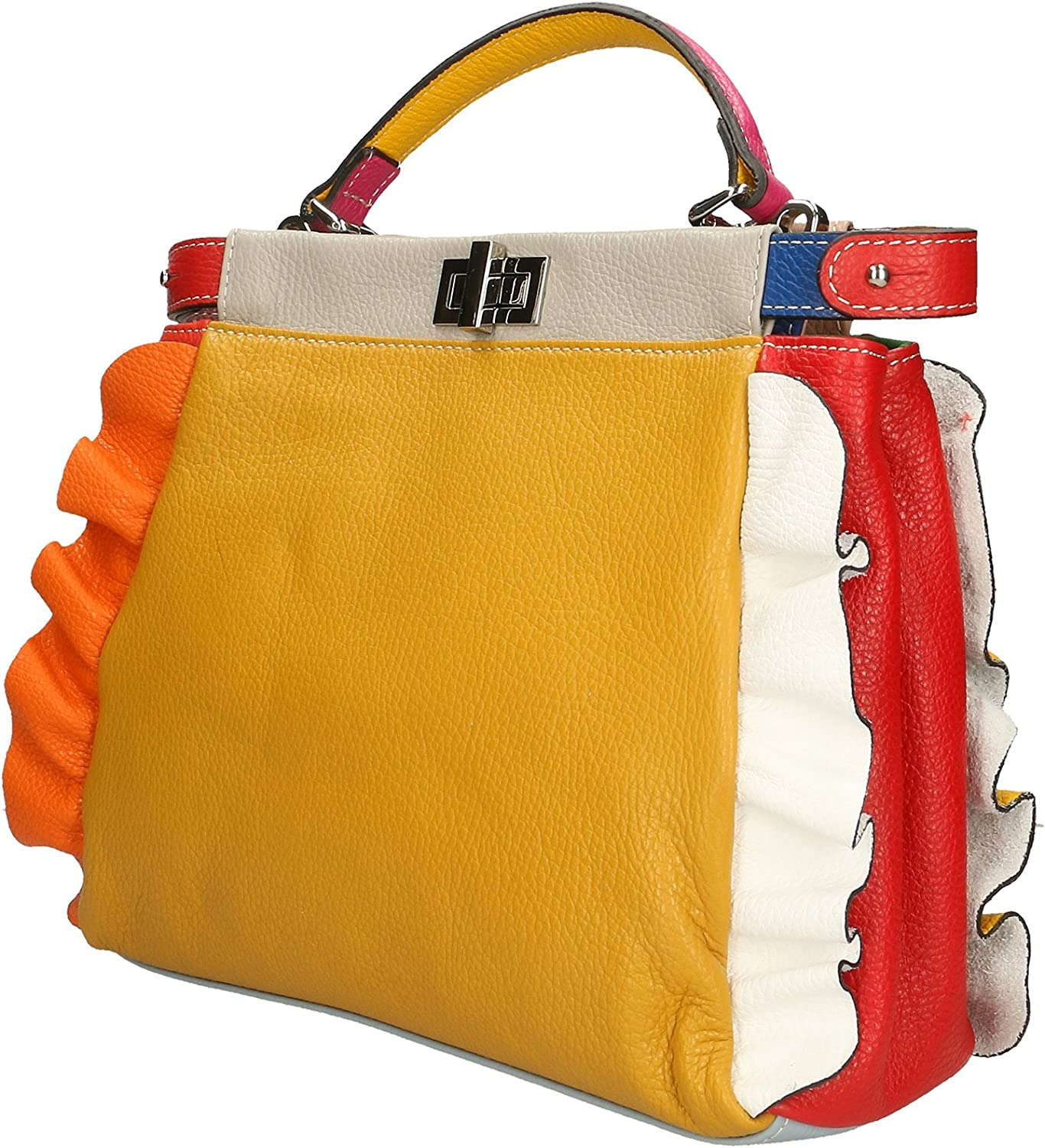 Aren - Woman Handbag in Genuine Leather Made in Italy - 32x26x12 Cm Mustard - Beige