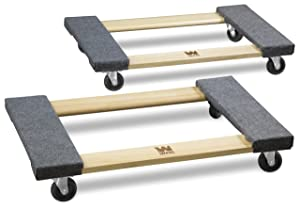 WEN 721830 1000-Pound Capacity 18-by-30-Inch Hardwood Mover's Dolly, 2-Pack