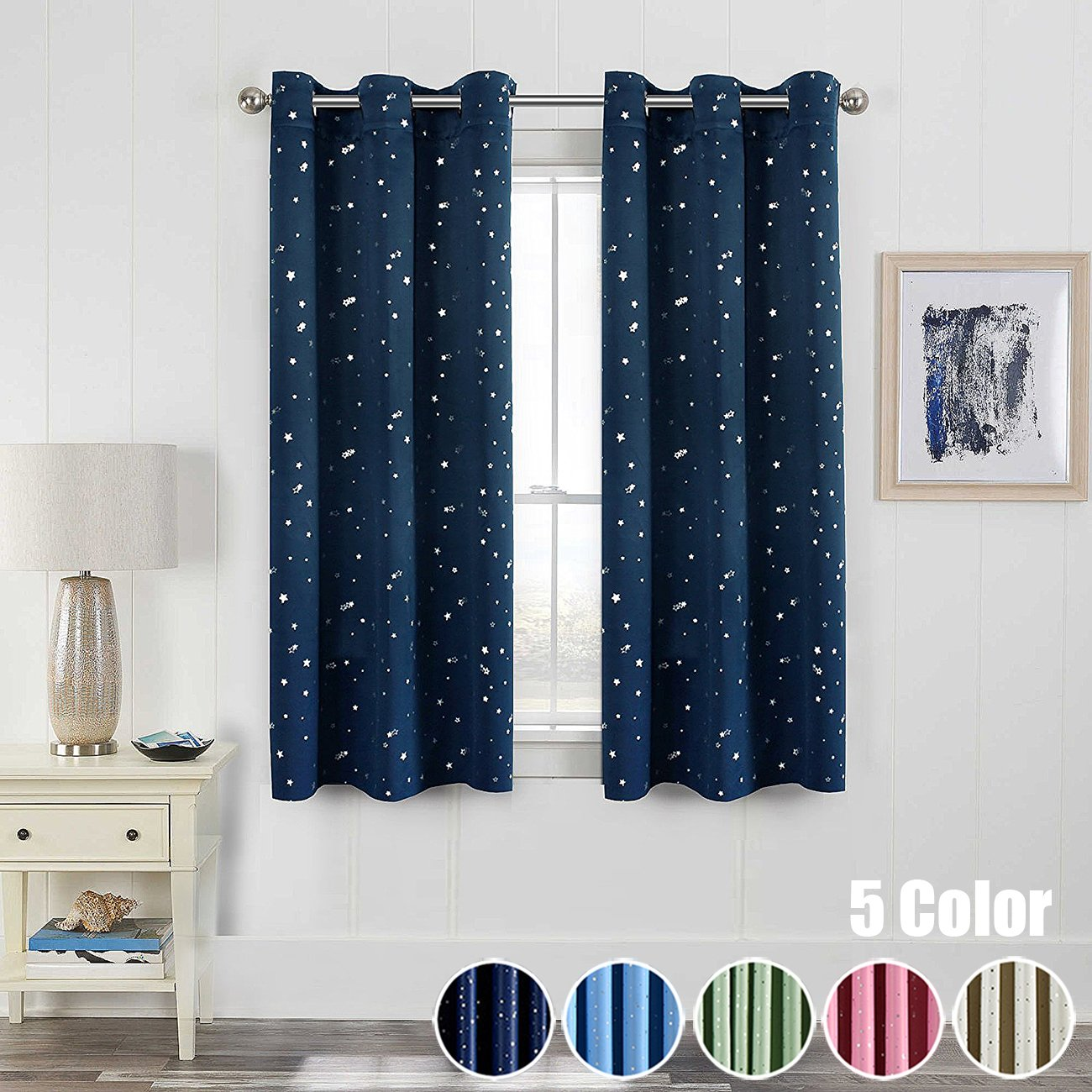 WPKIRA Window Treatments Short Curtains Grommet Room Darkening Stars Print  Blackout Window Curtains Panels Drapes For Bay Window/Kid\'s Bed 1 Panel W37  ...
