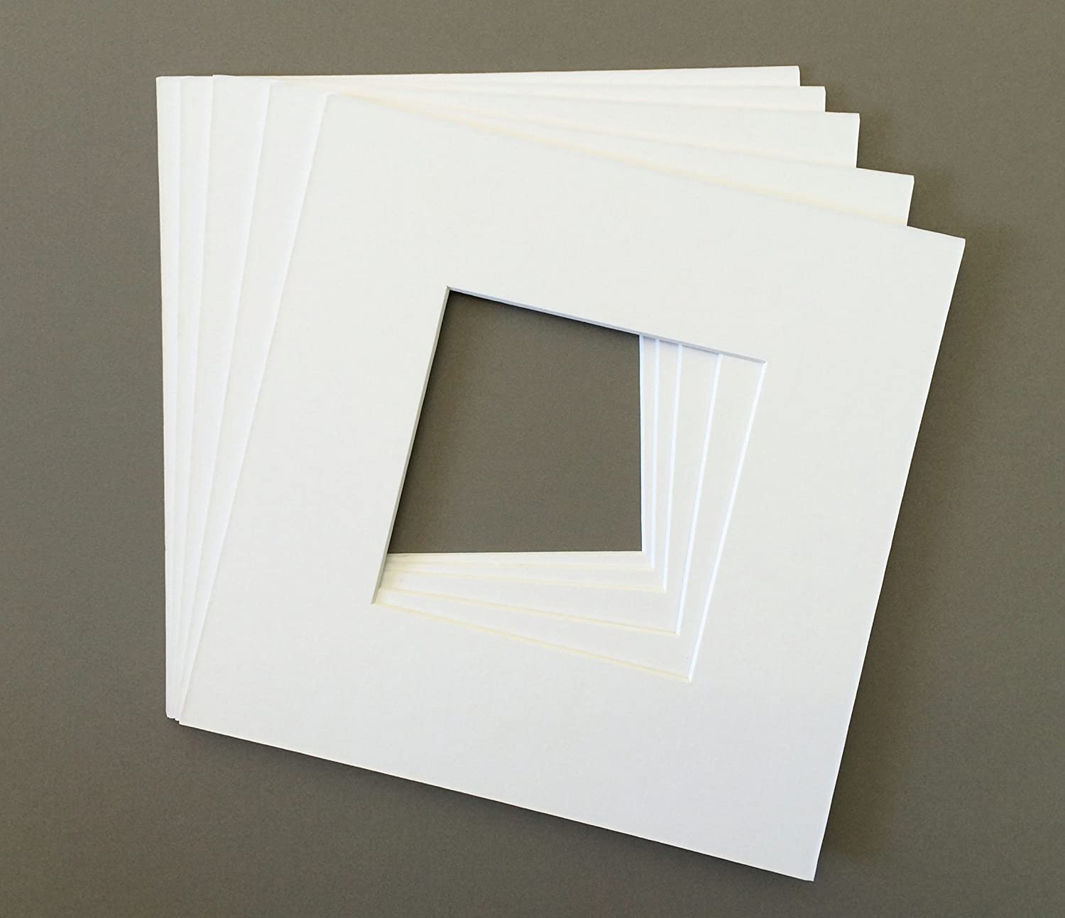 Pack of 5 8x8 Square White Picture Mats with White Core Bevel Cut for 4x4 Pictures