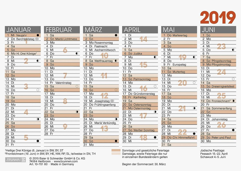 2019 Brunnen Tafelkalender A6 1S/6Monate Glocken