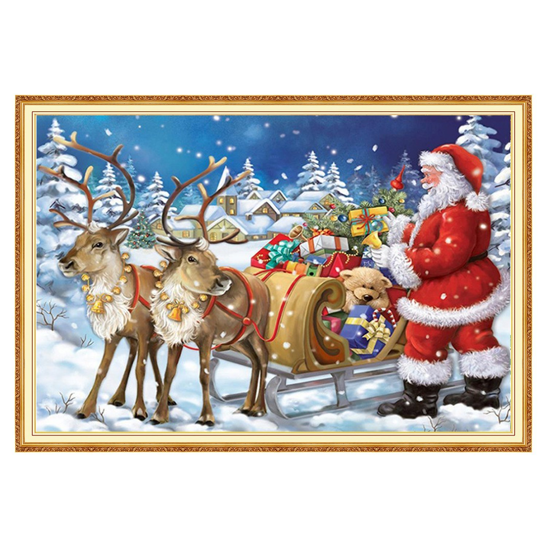 LUTER DIY 5D Diamond Painting Kits Arts Craft Home Wall Decor Santa Claus Christmas 12'' x 16''