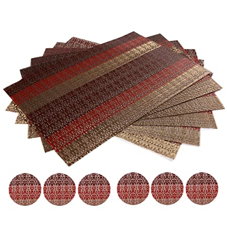 WaaHome Woven Placemats and Coasters Sets of 6 Soft Crossweave Multi Coloured Dining Table Placemats  sc 1 st  Amazon UK & WaaHome Woven Placemats and Coasters Sets of 6 Soft Crossweave Multi ...