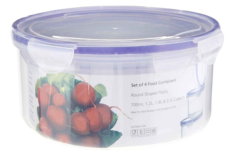 /Contenitori per Alimenti con coperchi ermetici Set di 4 Trasparente Rotondo Premier Housewares/ plastica Transparent