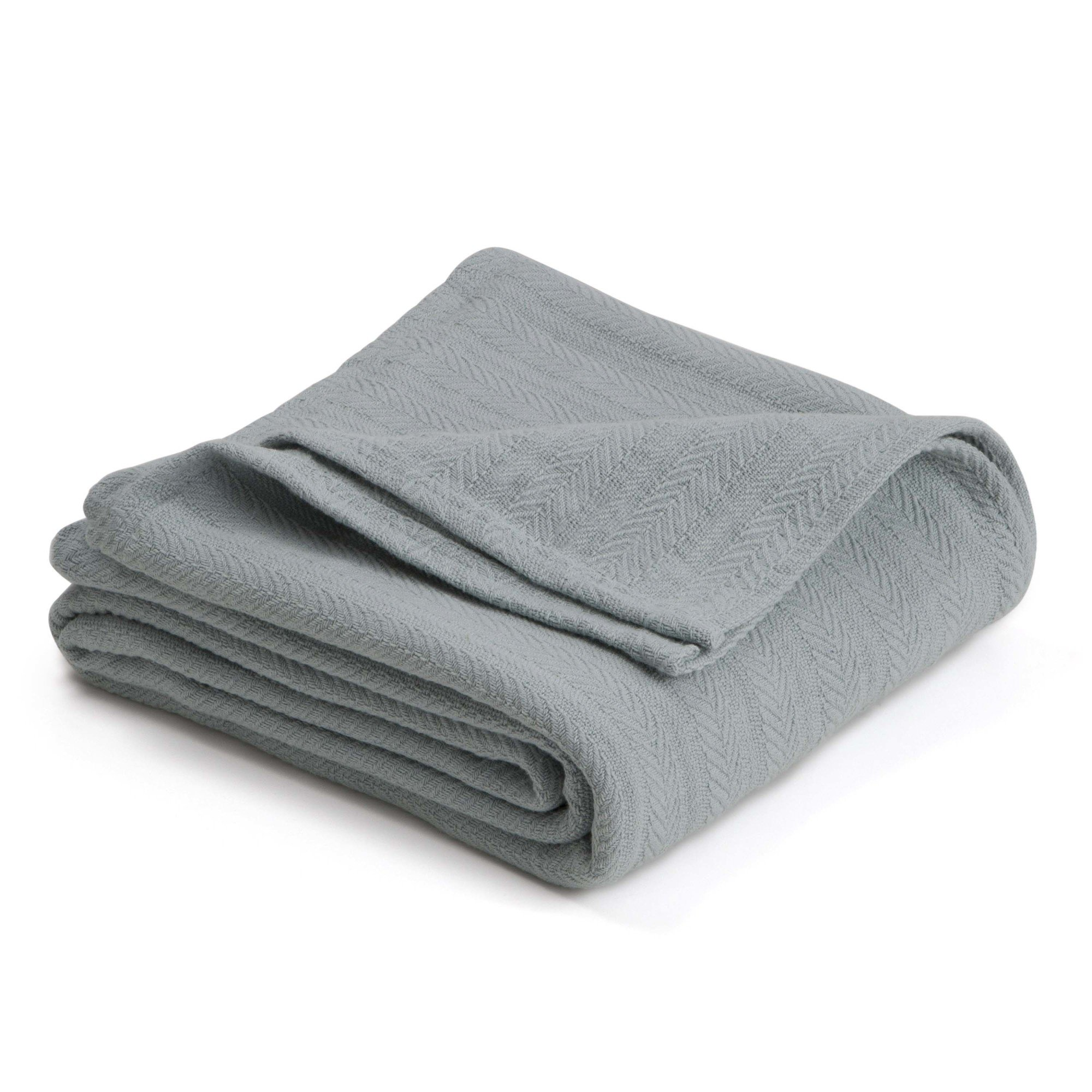 WestPoint Home COTTON WOVEN BLANKET BY VELLUX - Natural, Cozy, Warm, Chevron Textured, Pet-Friendly, All-Seasons - Gray Mist