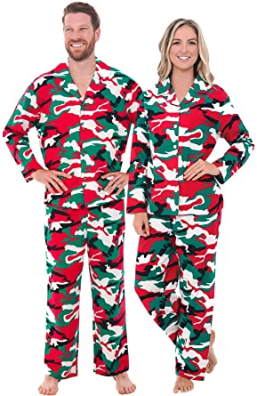 Alexander Del Rossa Mens and Womens Matching Flannel Pajama Set, Mens Small and Womens 3X