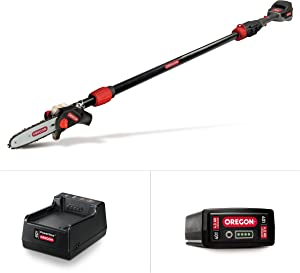 Oregon Cordless PS250 8-Inch 40V Telescoping Pole Saw with 4.0Ah Battery and Charger