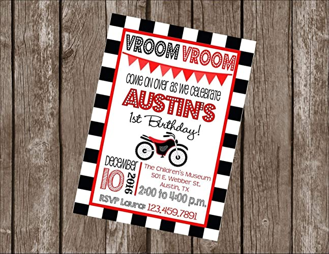 Red Black Orange Blue Hot Pink Or Yellow Checkered Flag Motorcycle Motorbike Motocross Customized 5x7 Printable OR Printed Invitation