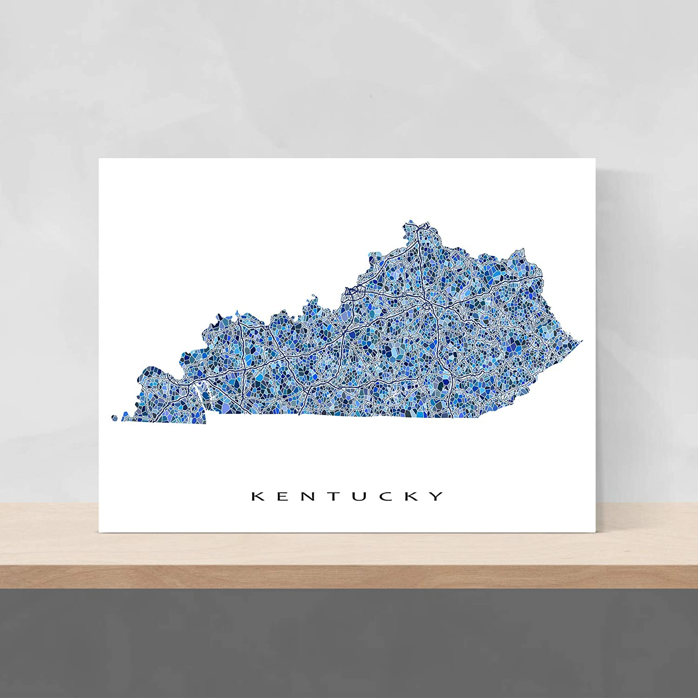 Amazon.com: Kentucky Map Print, KY State Wall Art Decor, Blue: Handmade