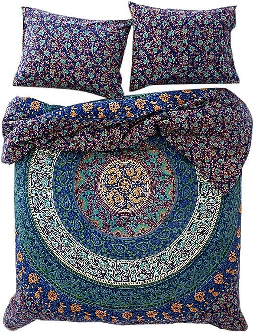 Indian Duvet Doona Cover Sun Mandala Hippie Bohemia Quilt 2 pillow Cover Beauty