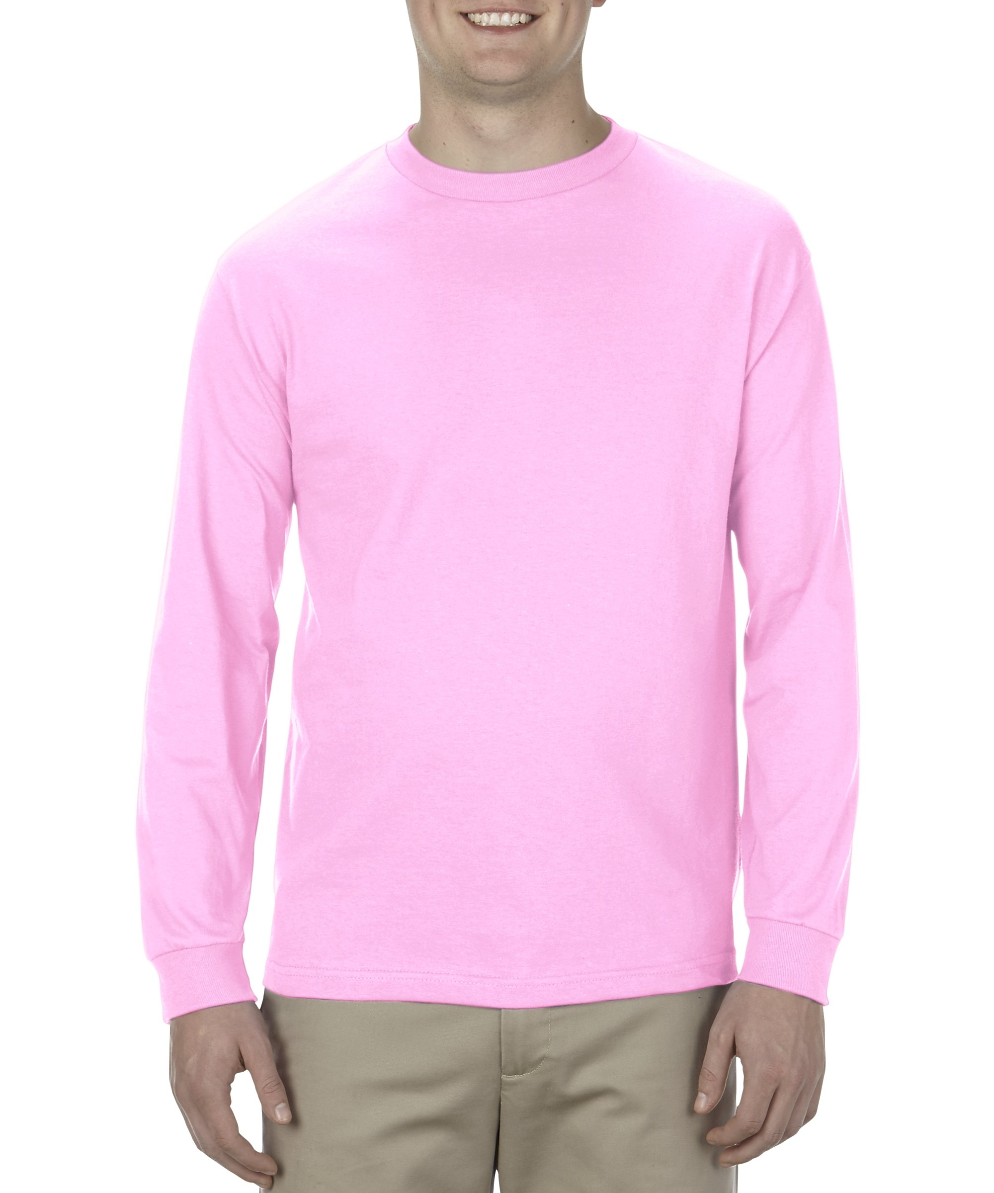 Alstyle Apparel AAA Men's Classic Cotton Long Sleeve T-Shirt, Pink, 2XL