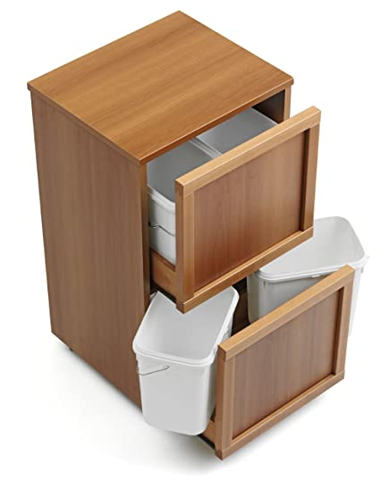 ARREDAMENTIITALIA Arredamenti Italia Mueble para reciclaje de basura MADERA 4, madera - 4 contenedores extraíbles