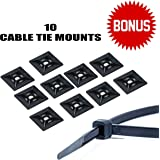 Zip Ties - ULTIMATE Nylon - Heavy Duty Self Locking Cable Ties for Industrial and Electronics - Various Sizes to Conquer Every Job, ULTRA STRONG, 160 PACK, Indoor/Outdoor. BONUS 10 Cable Tie Mounts!