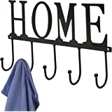 "Decorative""Home"" Design Black Wall Mounted Metal 5 Coat Hooks Clothing/Towel Hanger Garment Rack"
