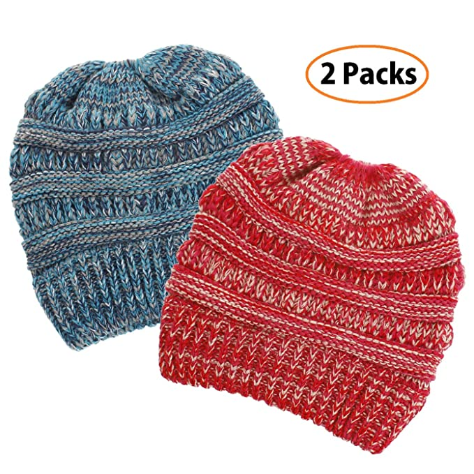 77ab725aa52 Headshion Womens Ponytail Beanie 2-Pack Ribbed Messy Bun Beanie Winter Warm  Knit Stretchy Cap at Amazon Women s Clothing store