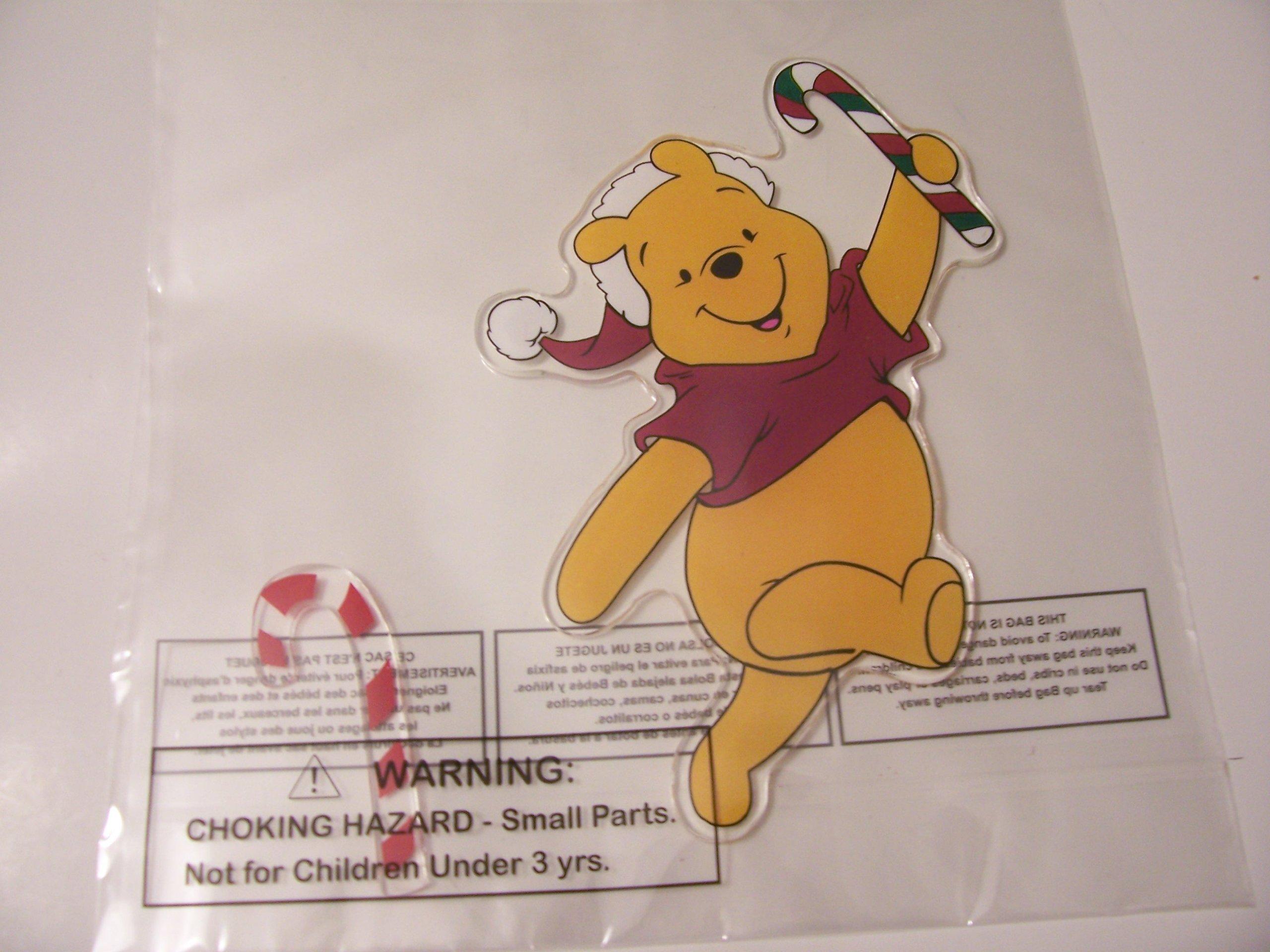Disney Winnie the Pooh Jelz Christmas Window Gel Clings ~ Santa Pooh with Candycanes (2 Clings)