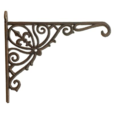 "Import Wholesales Fleur De Lis Plant Hanger Cast Iron Ornate Flower Basket Hook 12"" Deep : Garden & Outdoor"
