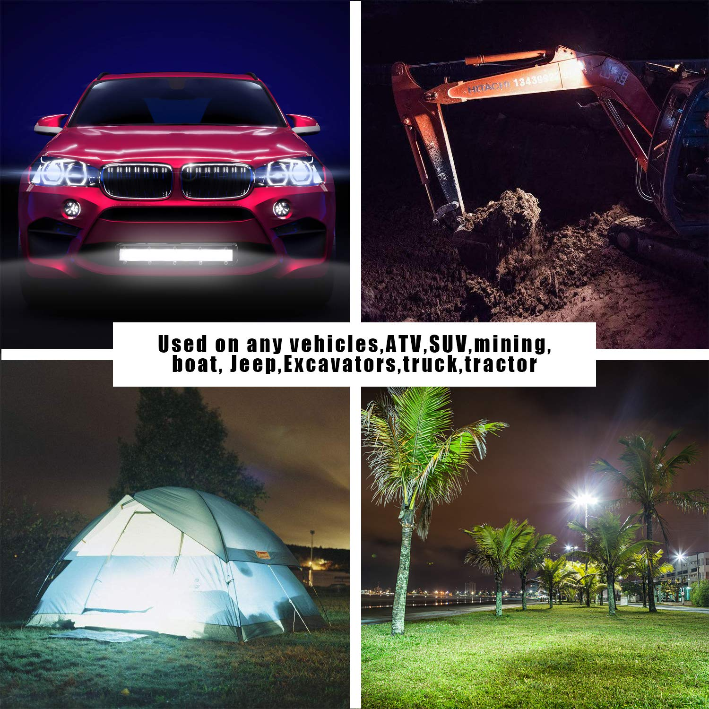 CICMOD 4 Pzs Faro LED Trabajo 12V 24V 48W 6000lm Focos LED Tractor IP67 Impermeable per Off-Road SUV UTV ATV Cami/ón Cuadrado
