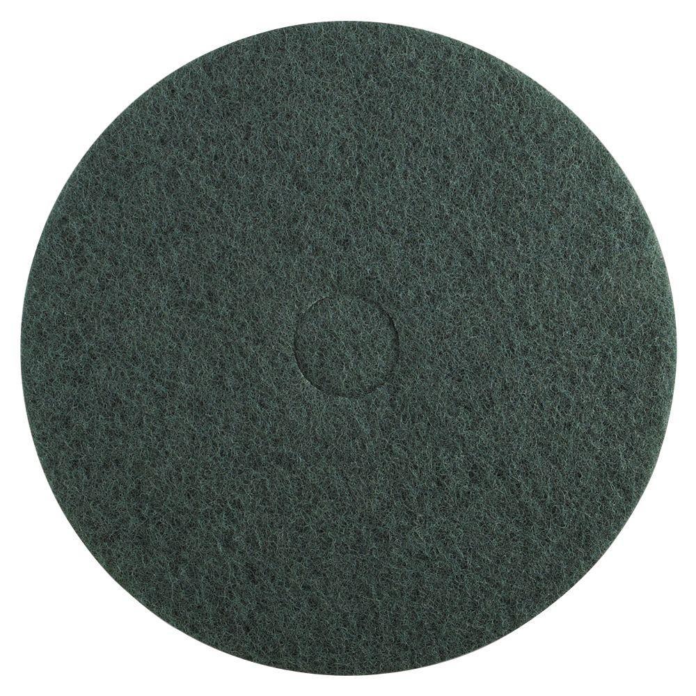 Standard 16 Diameter Heavy-Duty Scrubbing Floor Pad in Green