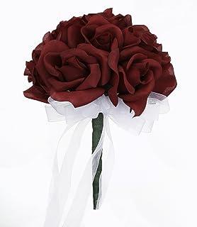 Amazon bridal bouquet burgundy white with ribbon and burgundy silk rose toss bouquet silk bridal wedding bouquet mightylinksfo