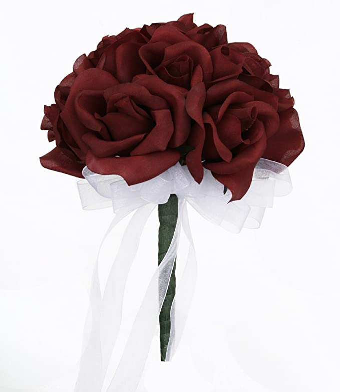 Amazon.com: Burgundy Silk Rose Toss Bouquet - Silk Bridal Wedding ...